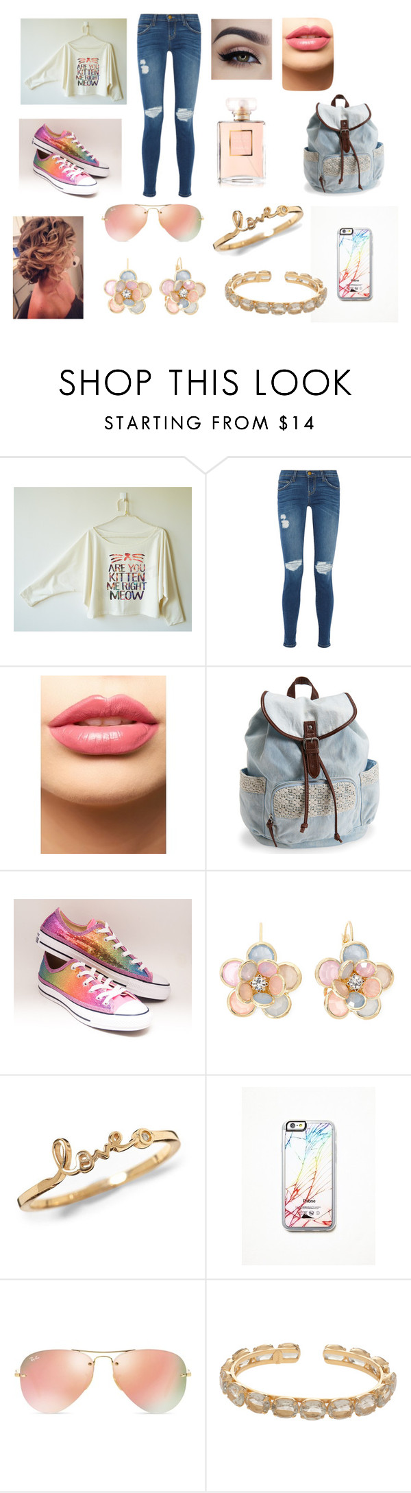 """""""kati"""" by cookie2314 on Polyvore featuring beauty, Current/Elliott, LASplash, Aéropostale, Converse, Mixit, Free People, Ray-Ban and Bounkit"""