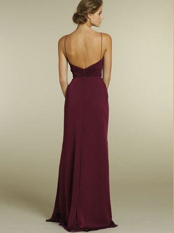 7c5f17af107 Merlot Chiffon A-line V-neck Long Bridesmaid Gown with Spaghetti Strap and  Draped Bodice