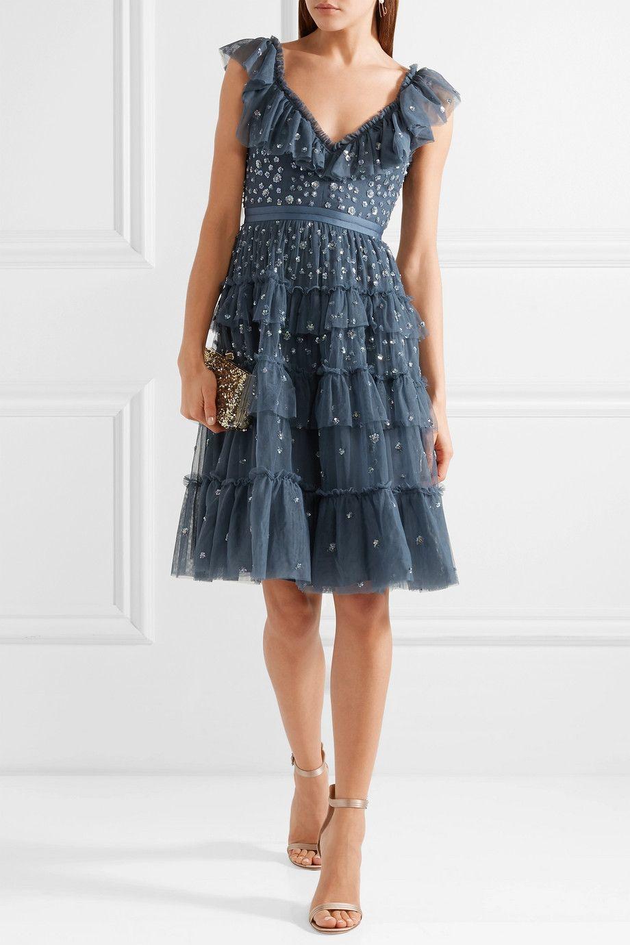 Sunburst Tiered Embellished Ruffle-trimmed Tulle Midi Dress - Storm blue Needle & Thread 3MKXTgY