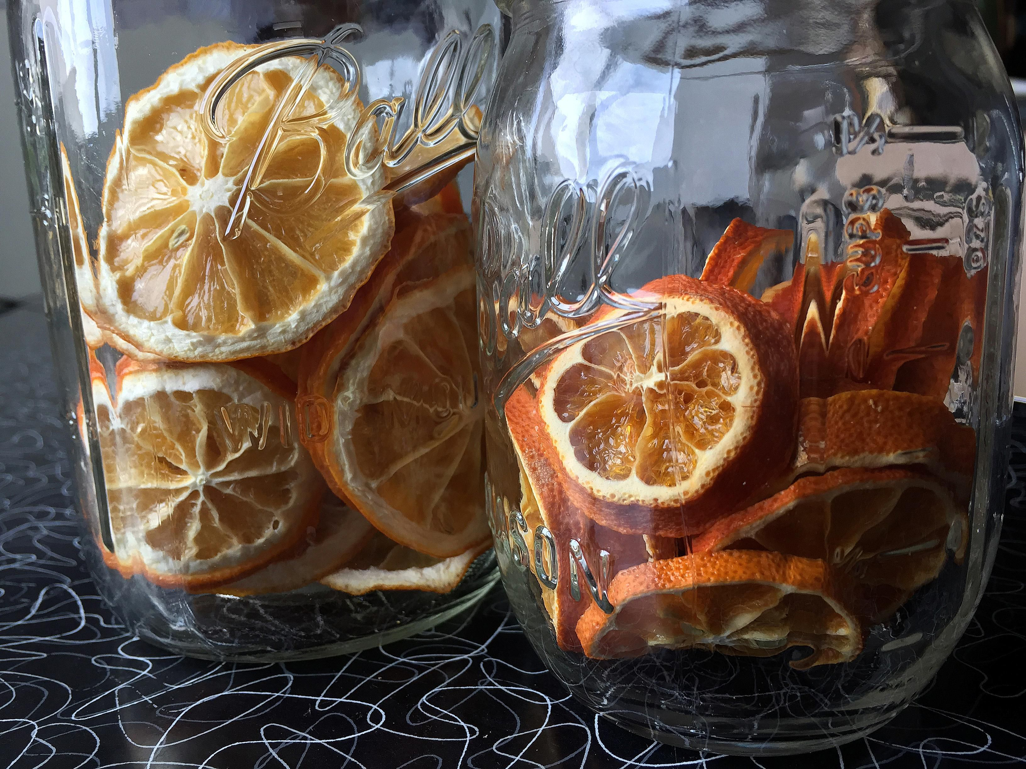 Dry slices of lemon orange and other citrus fruits at