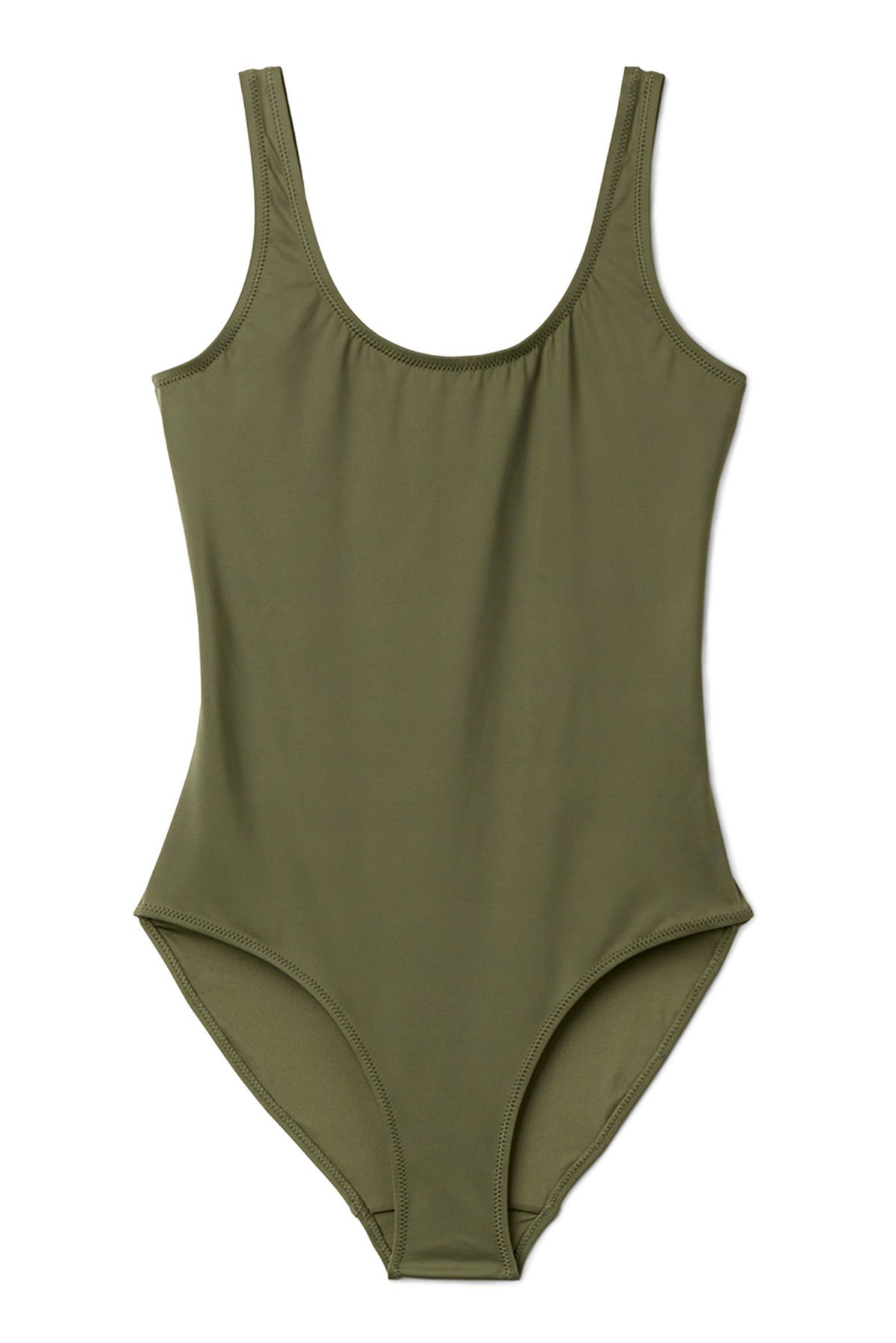 6fe3eac279b The Day Swimsuit is a simple sporty swimsuit with classic design details  such as a U-shaped neckline, wide straps and a round, open back. Made from  recycle