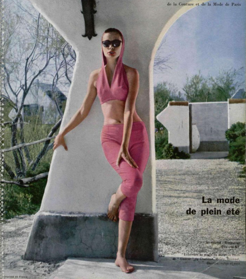 1960s fashion crop top and capris