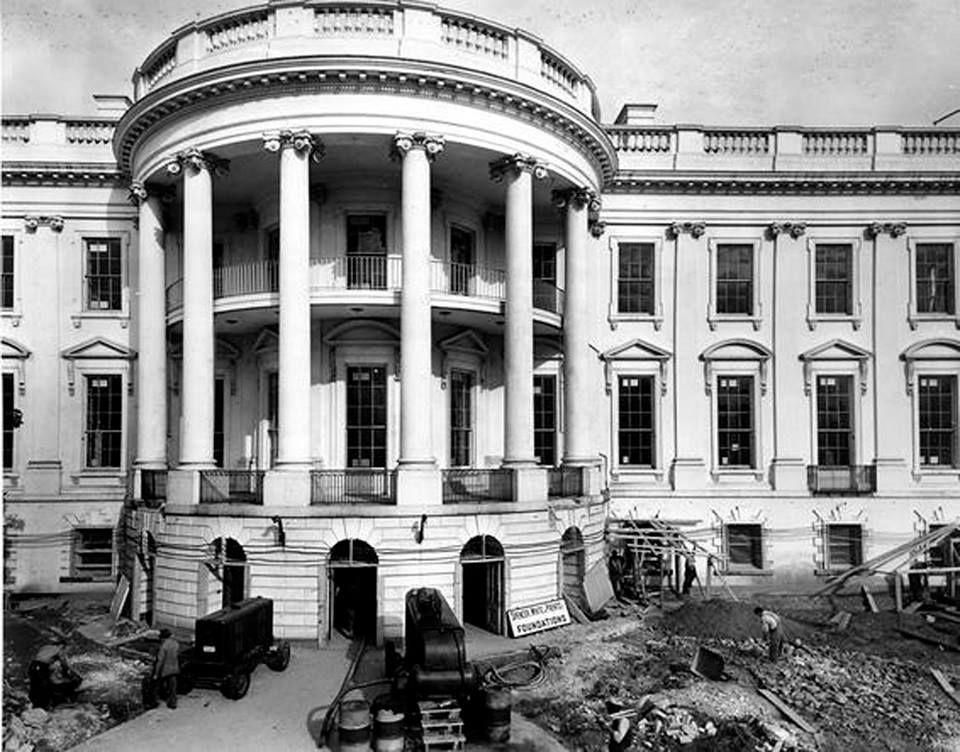 The south facade during the Truman reconstruction, 1951