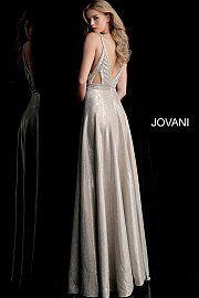 faf5e6c25824 Champagne Embellished Bodice Plunging Neck Prom Dress 67648 in 2019 ...