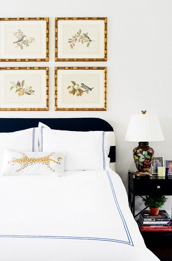 framed botanicals, hotel bedding