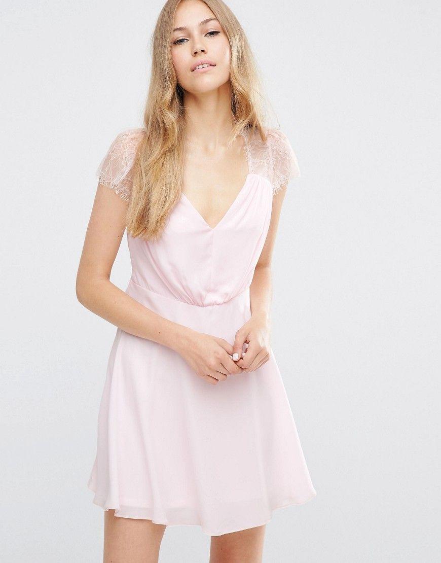 Kate Lace Mini Dress - Pink Asos idS38IB1C