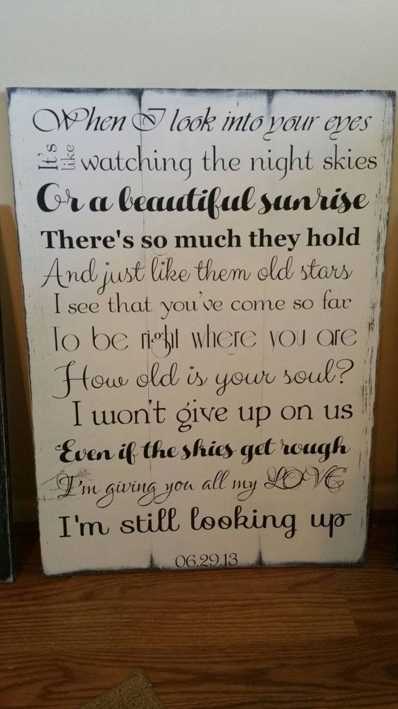 Custom Wedding Song Lyric And Vow Sign Set Personalized With Bride Groom Vows Jason Mraz I Won T Give Up On Us