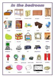 English Worksheet In The Bedroom Pictionary Editable Tesol