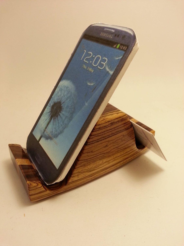 Smart Phone Business Card Holder Desk Accessory Organizer Wood ...