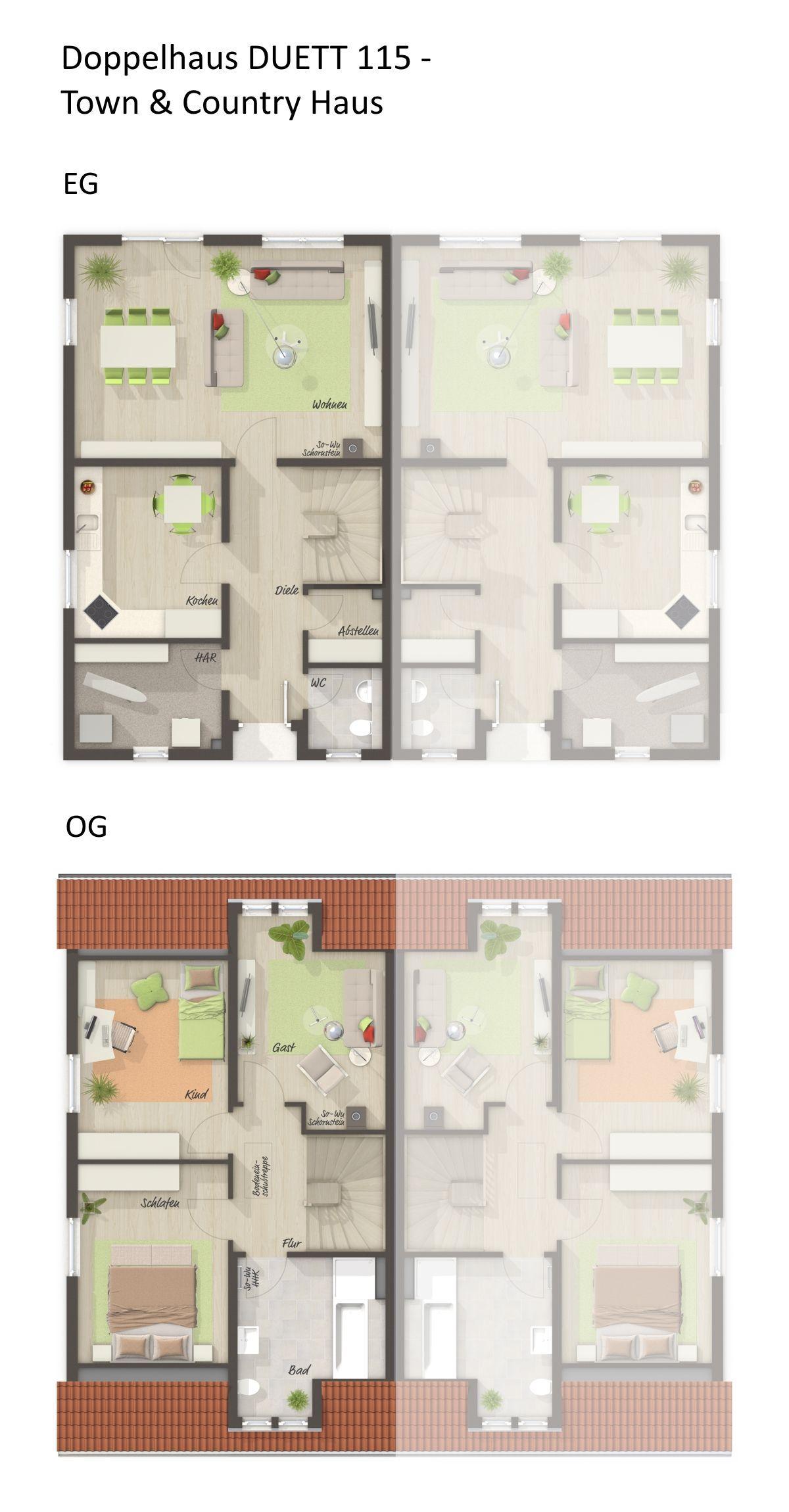 Grundriss Doppelhaushälfte mit Satteldach Architektur