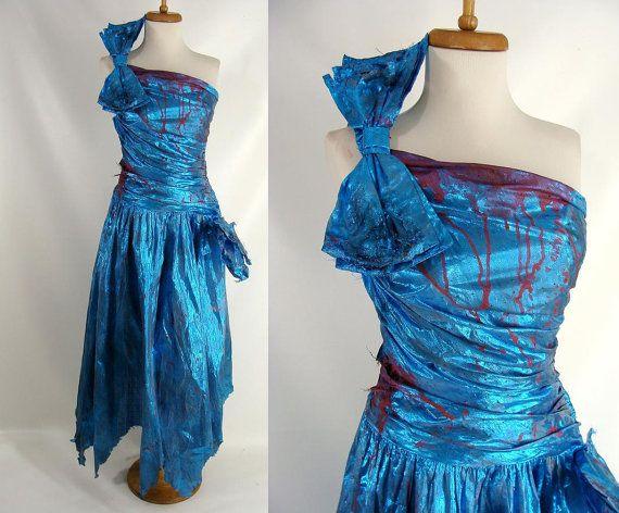 $94.00 Bloody Vintage 80s Blue Metallic FAIRY VAMPIRE One Shoulder ...