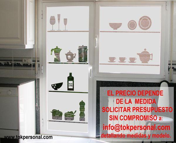 Vinilo decorativo para el cristal de la puerta de la - Vinilos para cocinas modernas ...