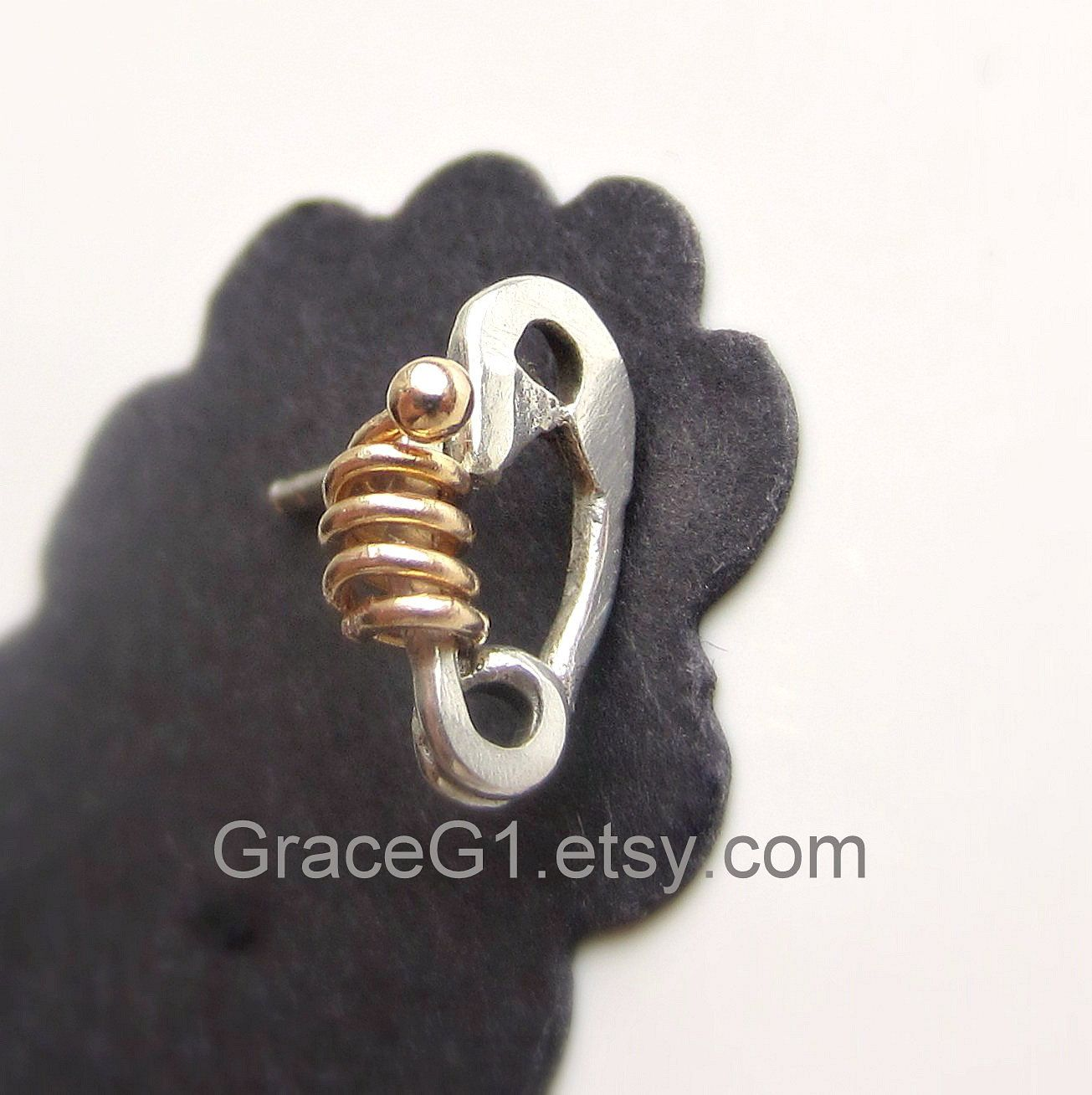 Cool Cartilage Earring Silver Safety Pin Cute Stud One Post