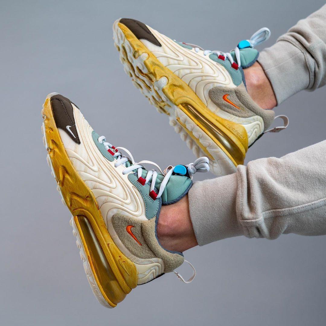 girar Decepción algo  Travis Scott x Nike Air Max 270 React On Feet | Nike shoes air max, Nike air  max, Nike air