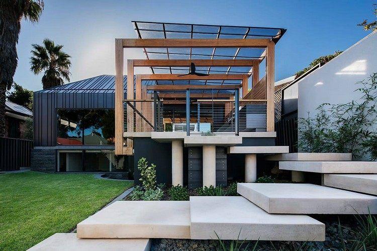 Moderne häuser mit terrasse  Hausanbau mit Satteldach und Terrasse mit modernem Design ...