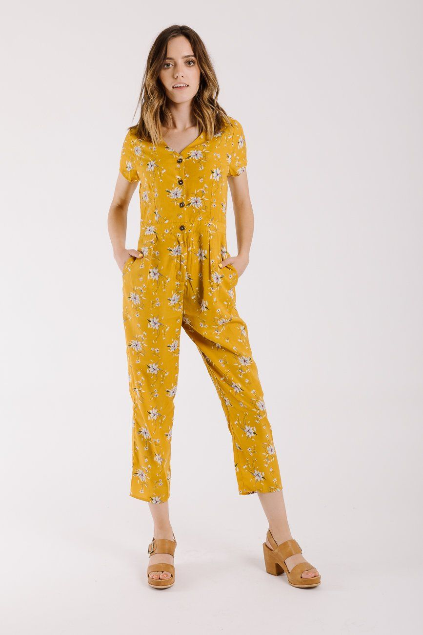 b276d93f129 The Coleman Floral Jumpsuit in Mustard – Piper   Scoot