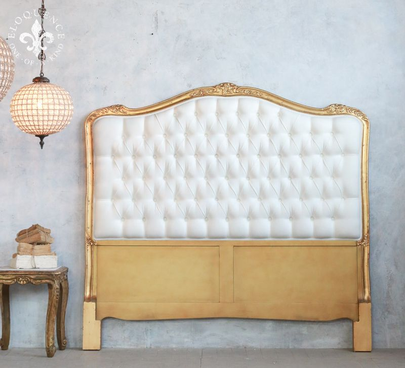 Eloquence Queen Antique Reproduction Gold Tufted Headboard
