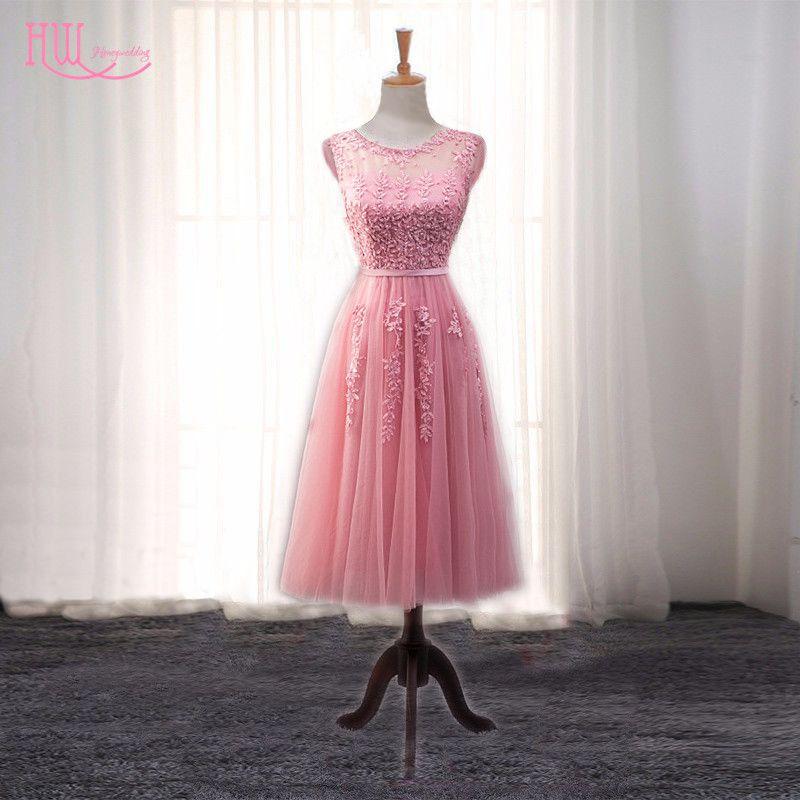 Aliexpress.com: Comprar Rosa Rosa Té de Longitud de Encaje Cortos ...