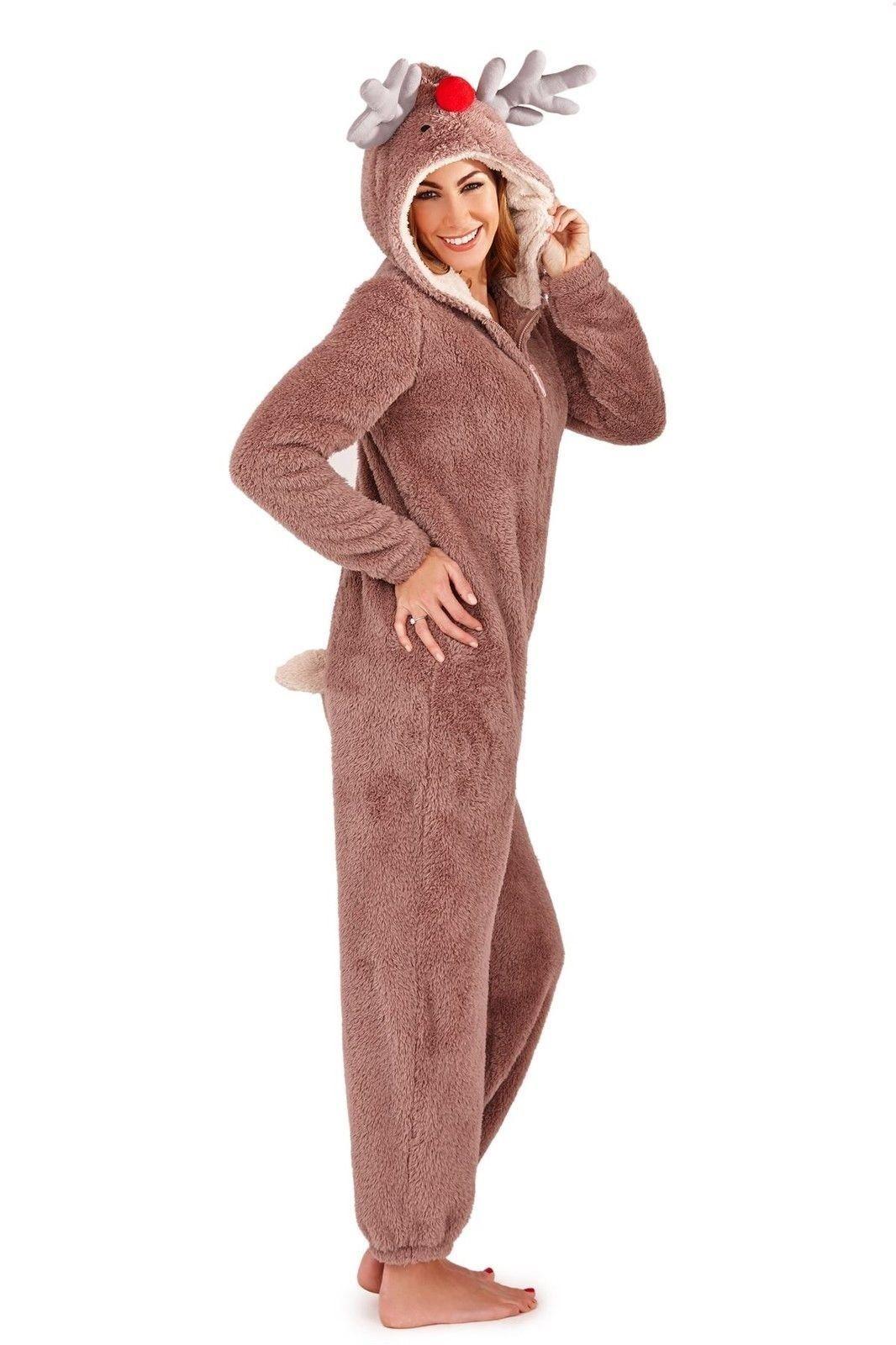 ed5f79c3ef4d Ladies Reindeer Fleece Onesie Christmas One Piece All In One ...