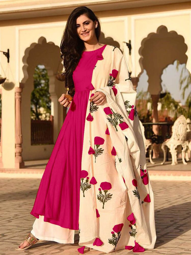 Indian Ethnic Long Anarkali Kurta Printed Beautiful Bollywood Gown Kurti Dress