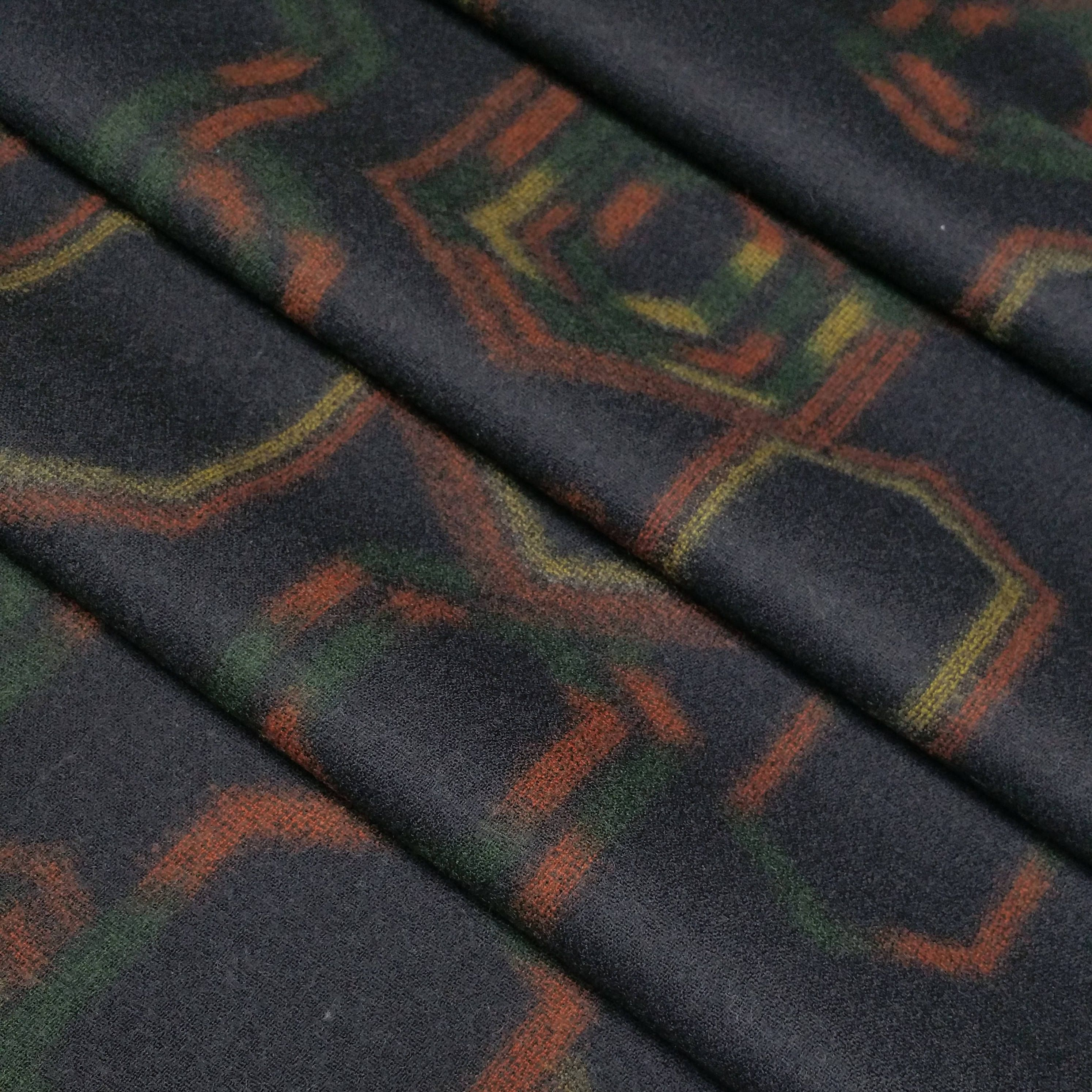 Vintage Double Wide Black Wool Flannel Kimono Fabric With Tortoise Shell Kikko Pattern By The Yard Wool Flannel Black Wool Flannel Kimono