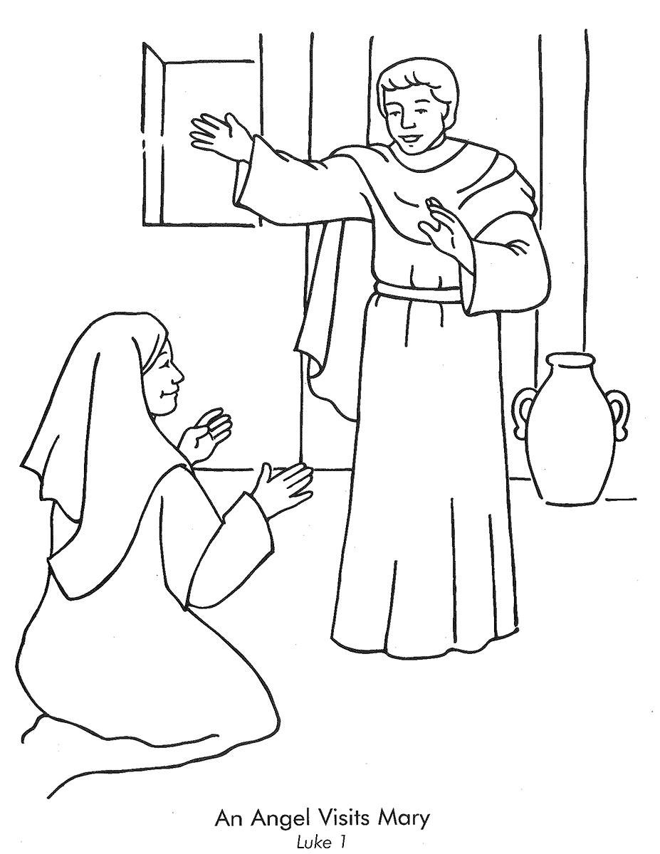 Angel Appears To Mary And She Bow Under Him Coloring Pages Owl