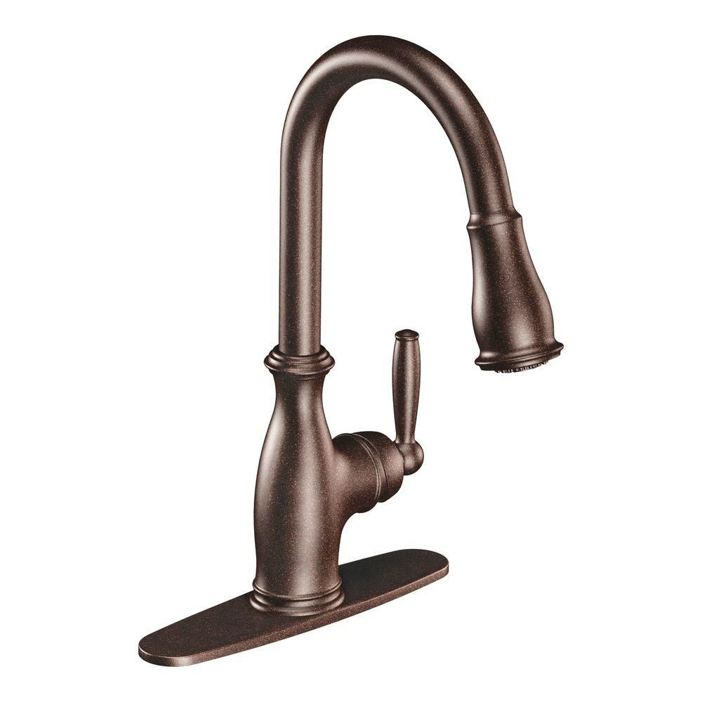 Moen Brantford Single Handle Pull Down Sprayer Kitchen Faucet With Reflex And Power Boost In Oil Rubbed Bronze 7185orb The Home Depot Bronze Kitchen Faucet Kitchen Faucet Bronze Kitchen