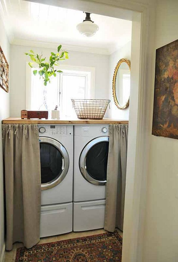 Small Laundry Room Decorating Ideas Great Idea For Covering The