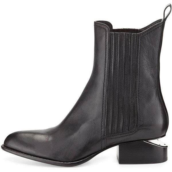 Alexander Wang Anouck Chelsea Bootie (4 840 SEK) ❤ liked on Polyvore featuring shoes, boots, ankle booties, pointy toe ankle boots, black bootie, alexander wang booties, black ankle boots and black chelsea ankle boots