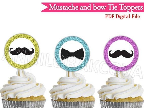 Cupcakes Mustaches and Bow Tie Toppers mustache Cake by ANNILORACK