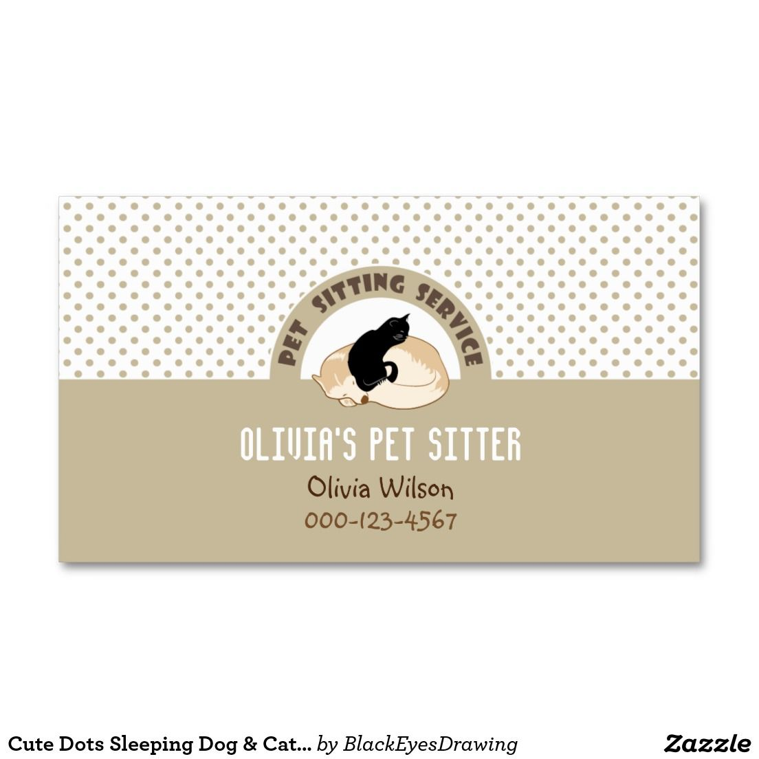 Cute Dots Sleeping Dog & Cat Pet Sitting Service Business Card | Pet ...