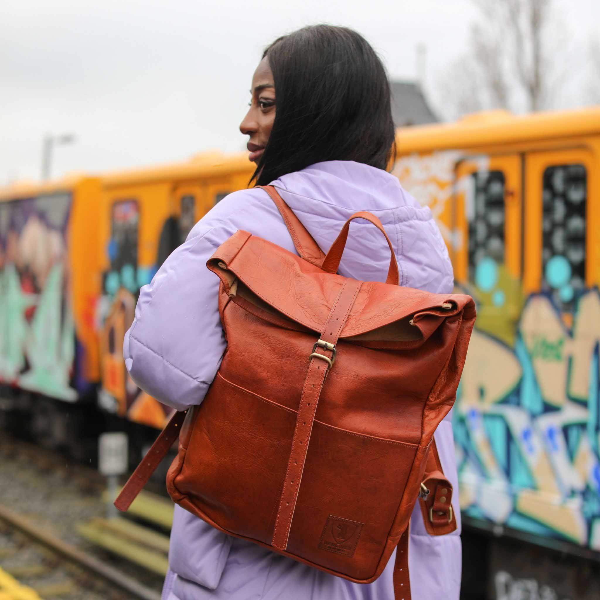 Berliner Bags Berlin Paris Rucksack Leather Backpack Vintage Brown Leder Men Women Minimalist Style Taschen Fahrradrucksack Lederrucksack