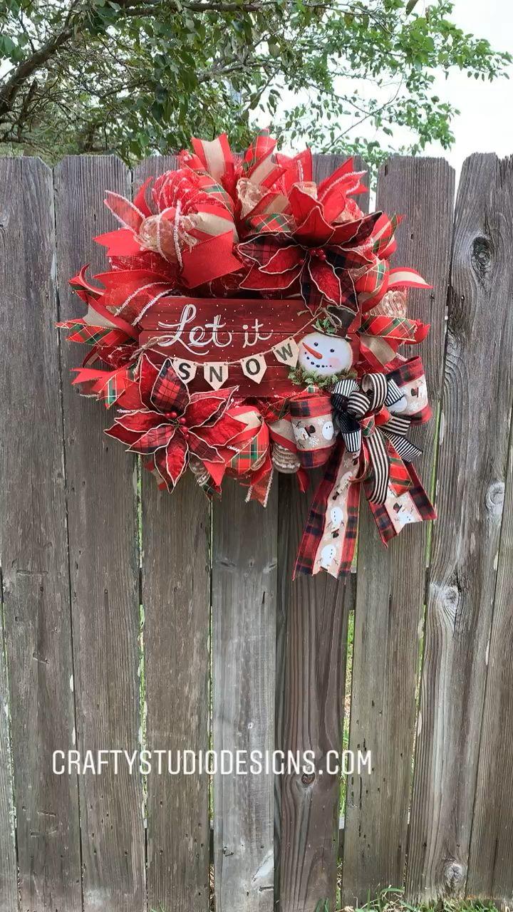 Photo of Snowman Wreath, Let It Snow Decor, Winter Wreath, Wreaths from Crafty Studio Designs