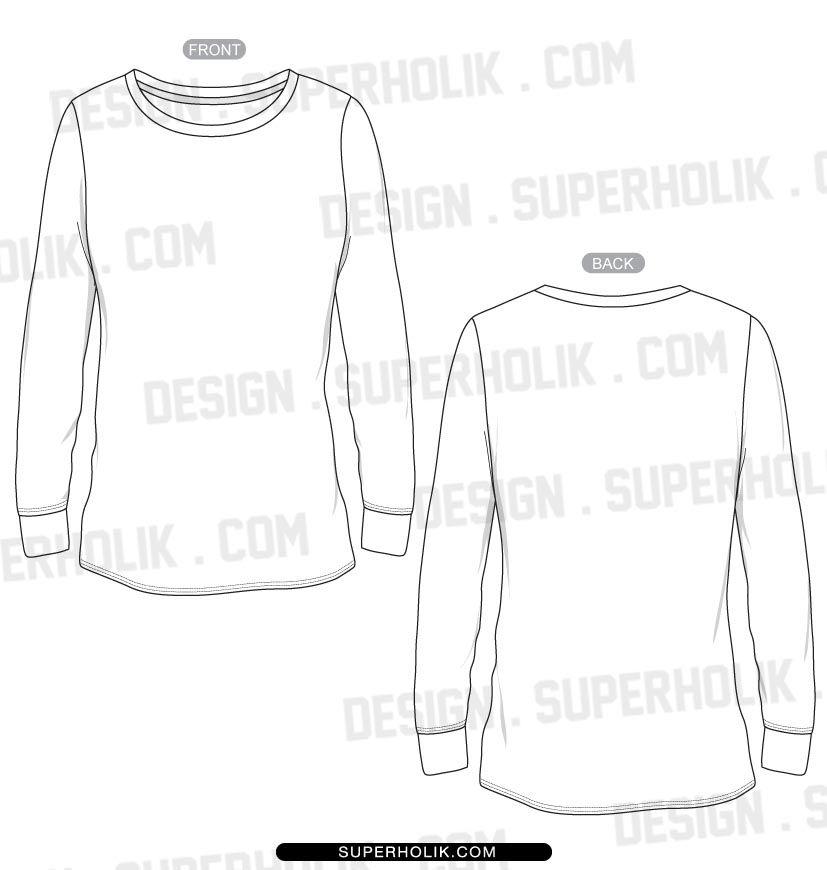 Women S Long Sleeve T Shirt Template Fashion Design Vector Body Form Fashion Design Template Shirt Template Fashion Design