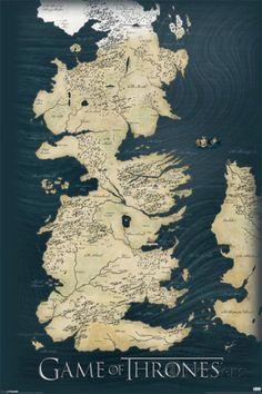 Game Of Thrones Carte Des Sept Royaumes Le Trone De Fer Affiche