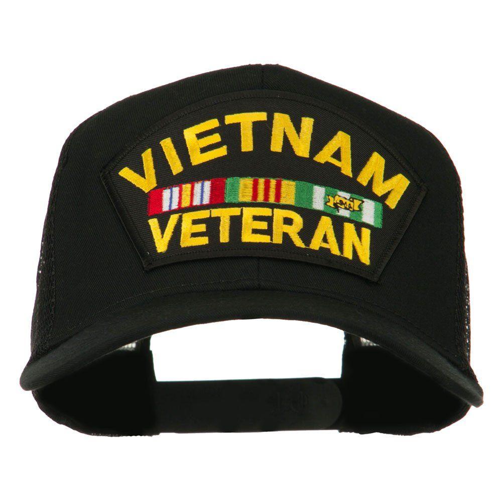 Vietnam Veteran Military Patched Mesh Back Cap - Black OSFM at Amazon Men's Clothing store: