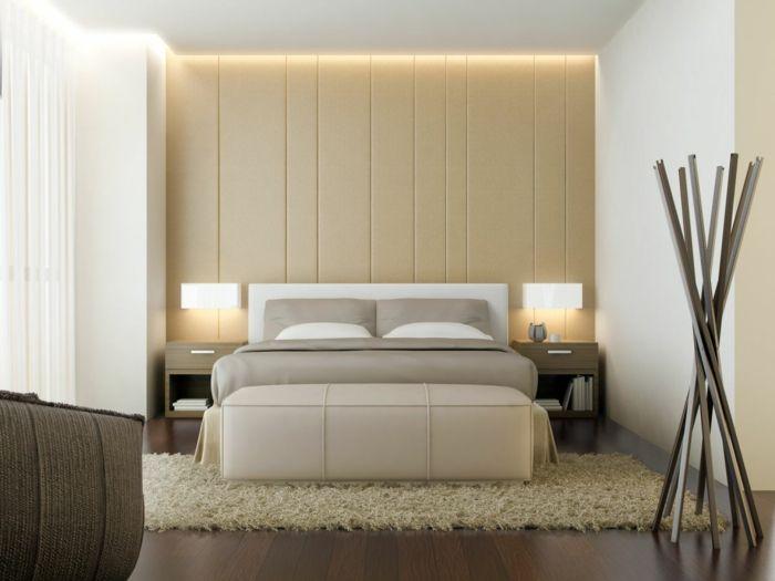 Chambre à coucher lit gris mur beige décoration style asiatique tapis moelleux