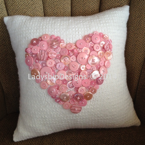 Pillow Cover With Button Pattern: Button Heart Pillow Cover   Heart pillow,