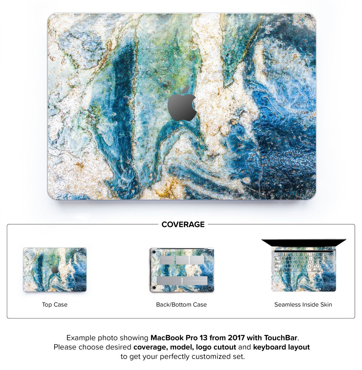 The sweetest hard case for MacBook Pro 13-inch (late 2016+ with TouchBar) with italian blue marble artwork. Made for your MacBook Pro to protect and beautify it.