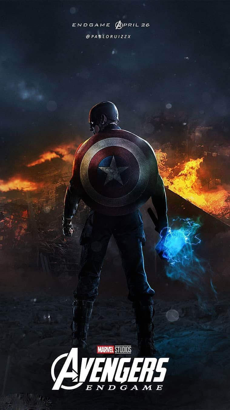 Captain America With Mjolnir Endgame Iphone Wallpaper Captain America Wallpaper Marvel Avengers