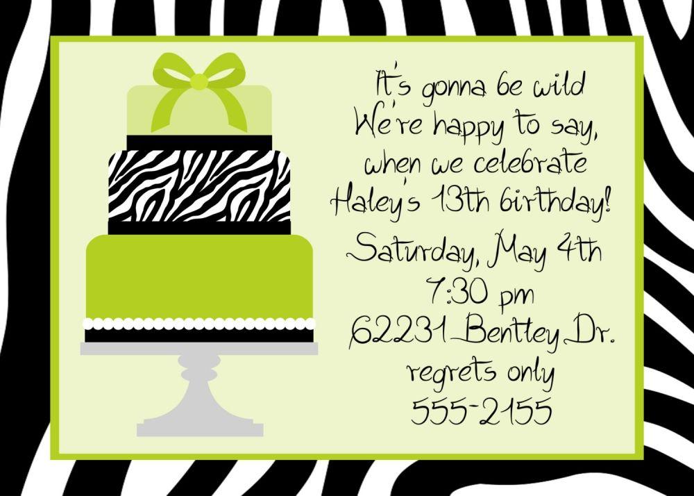 Printable birthday invitations for 12 year old girls animal print items similar to zebra cake teen birthday party invitation on etsy stopboris Images