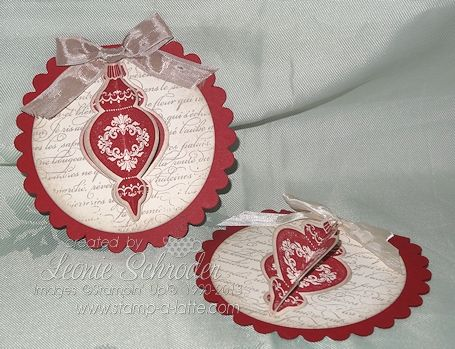 Vintage Ornament Keepsakes ... lovely and easy using Ornament Keepsakes and framelits. Add some metallic string and hang it on your tree! #Christmas #stampalatte #stampinup #keepsakeornaments