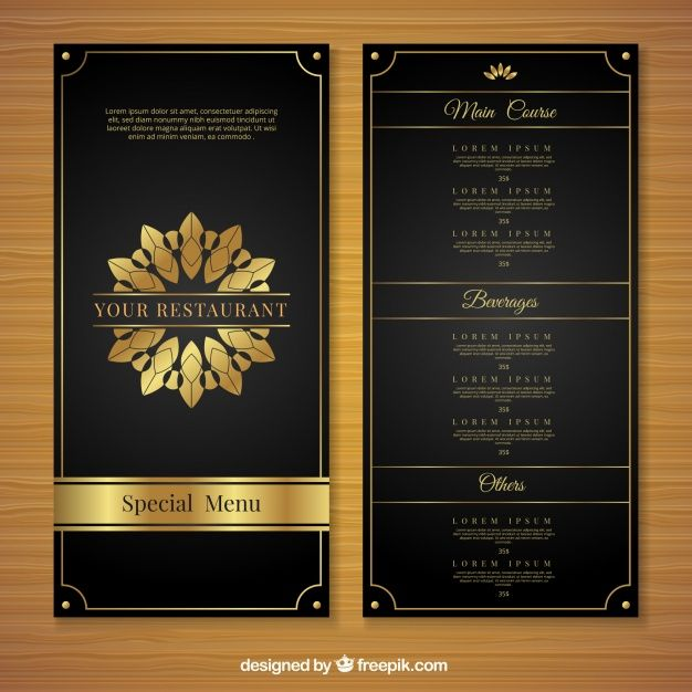 Download Golden Menu Template With Luxury Style For Free