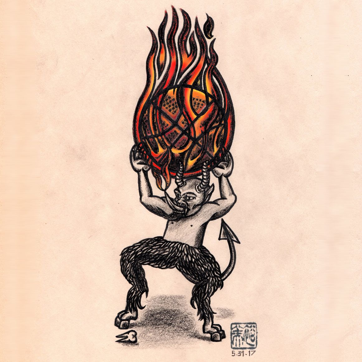 my Lil kdevil throws the big fire ball into my heart. - Black colored Pencil, Pen on Paper. and put some color by photoshop. 6/1/2017