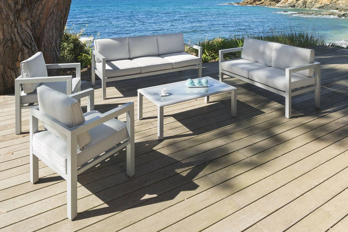 Salon Azua Silver mat 7 places - Aluminium - Hespéride ...