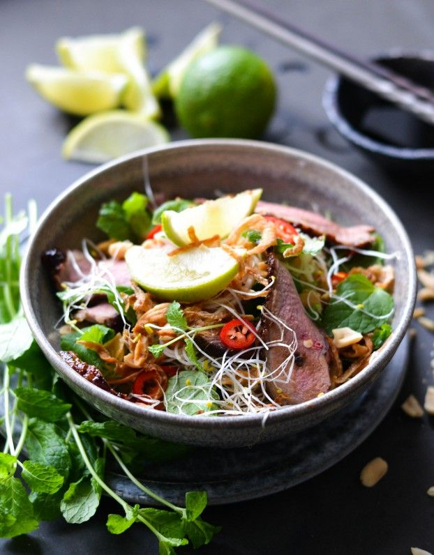 Vietnamese style duck salad - A tasty love story. Duck breast, lotta fresh  veggies, herbs and spices, and Asian rice noodles.