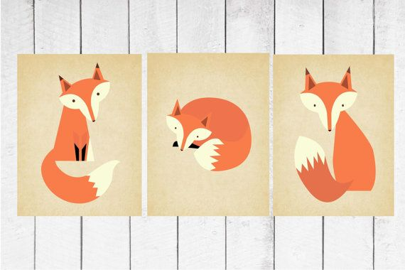 Fox Nursery Decor  3 Piece set  Fox Print Trio by TheEducatedOwl