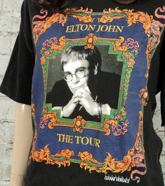 6fea75ed 90's Elton John Versace T Shirt/ Vintage 90's Shirt Top/ Unisex M/ L ...