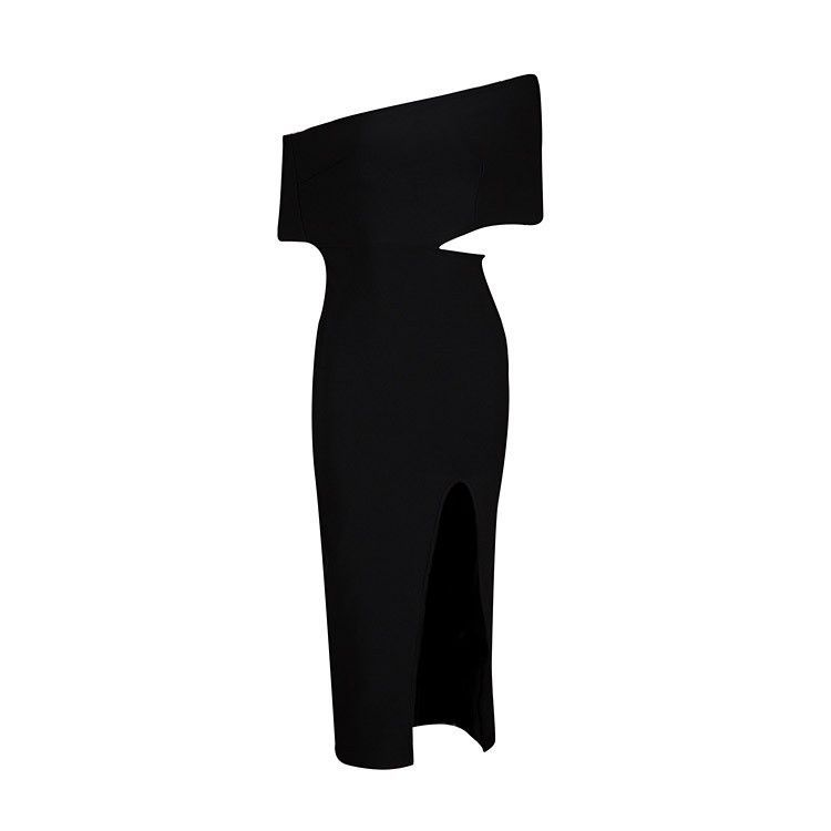 Womens Dresses Summer Fashioned Black One Shoulder Bandage Dress Rayon