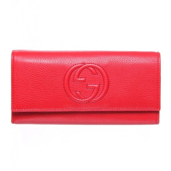 Gucci Red Soft Grain Leather Long Envelope Purse (1,845 PEN) ❤ liked on Polyvore